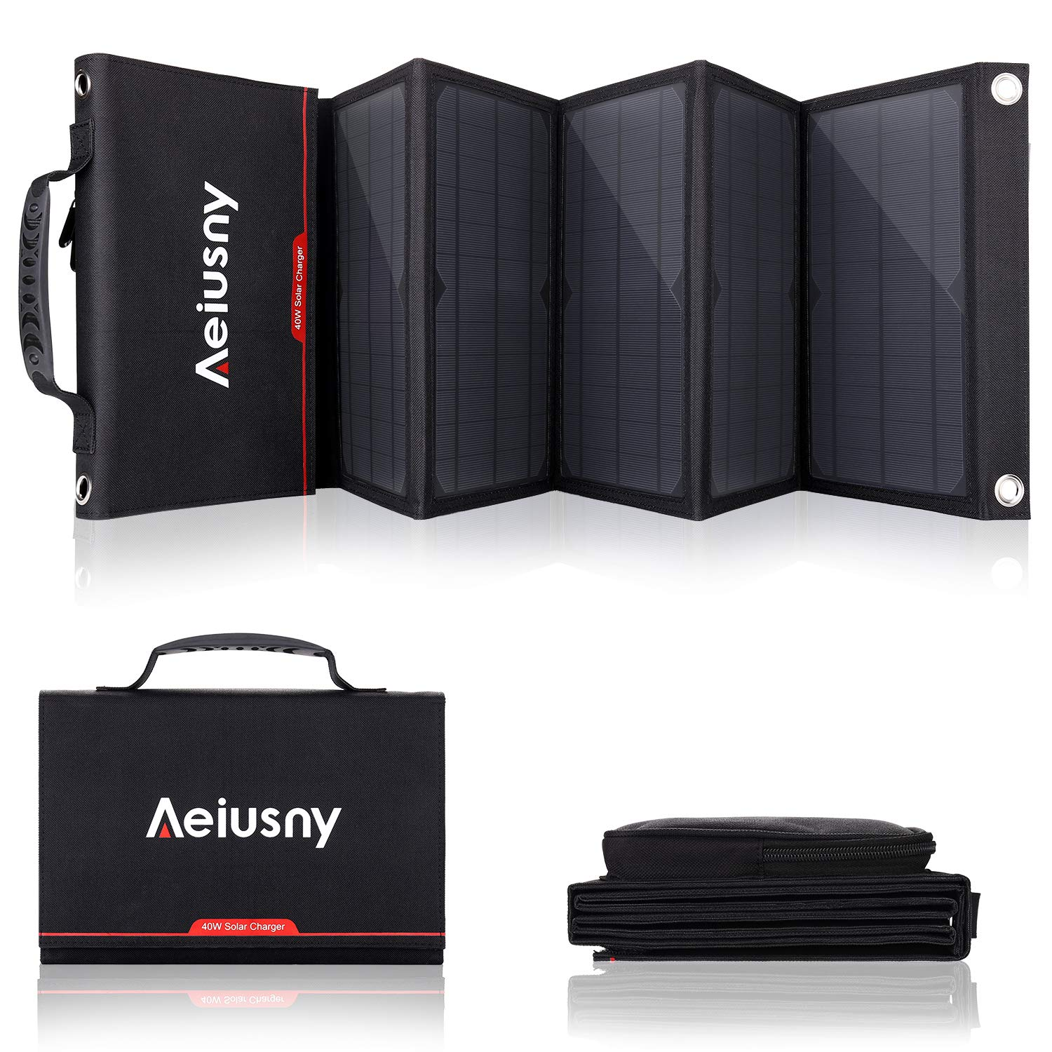 Aeiusny Foldable Solar Charger 40W Portable Solar Panel Charger with DC Output Waterproof for Jackery/Suaoki Portable Generator and USB QC 3.0 Charger for Laptop/iPhone 5-18V Device for Camping by Aeiusny