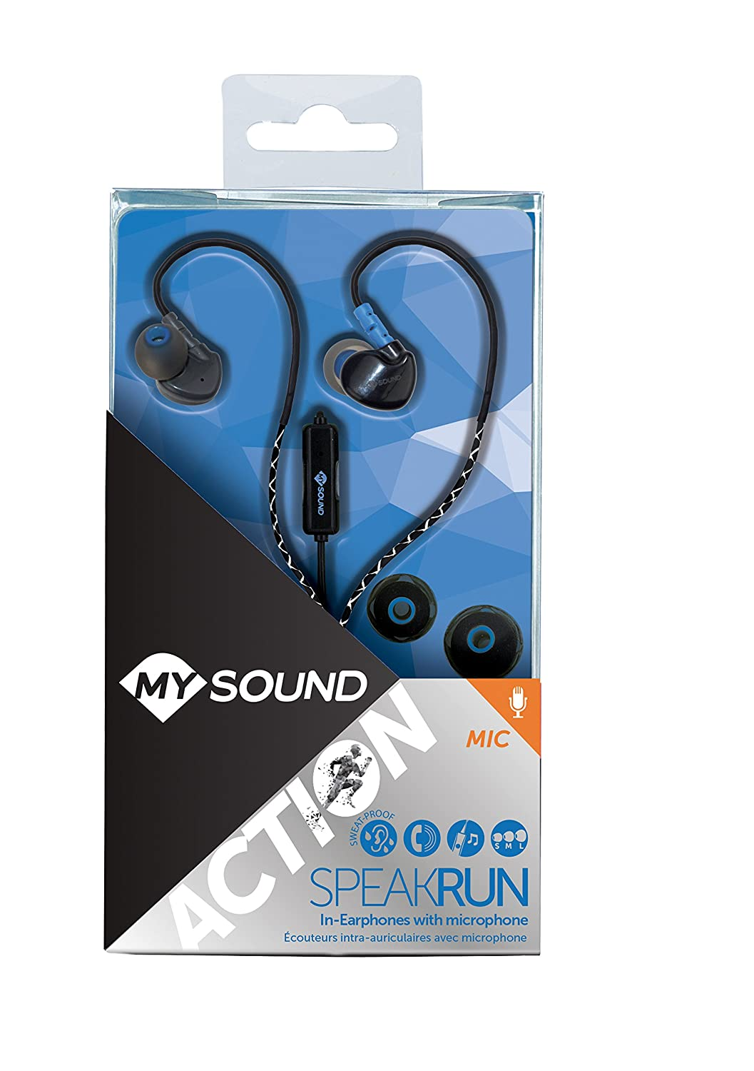 Cavo Catarifrangente MySound Speak Run Auricolare In-Ear con Microfono e Tasto di Risposta Nero