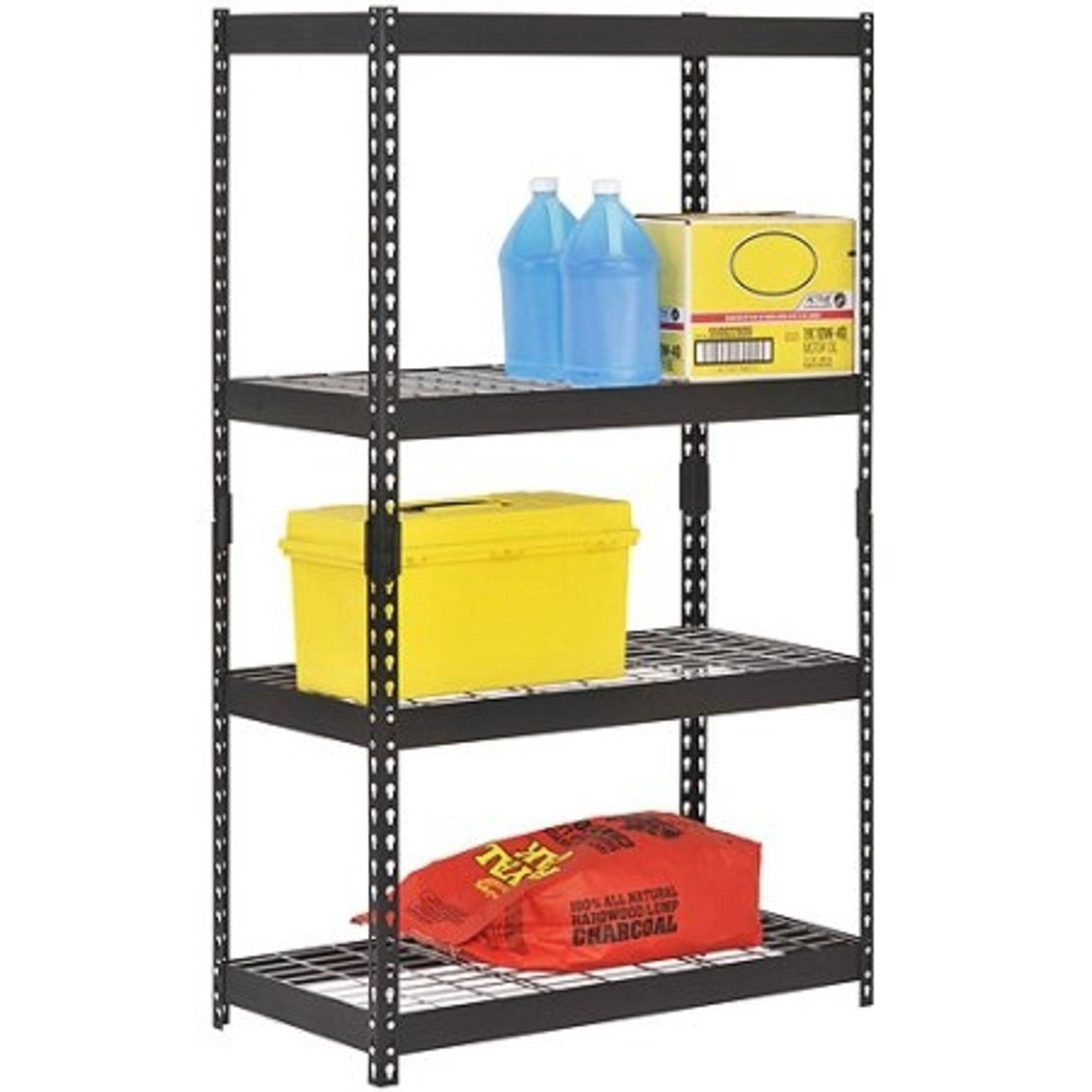 4-Shelf Durable Steel Construction Heavy-Duty Black Shelving Unit