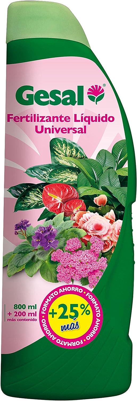 Gesal Cuidado de las plantas de interior y de terraza Fertilizante liquido universal, 6 x 800+200 ml, 7x9x26 cm