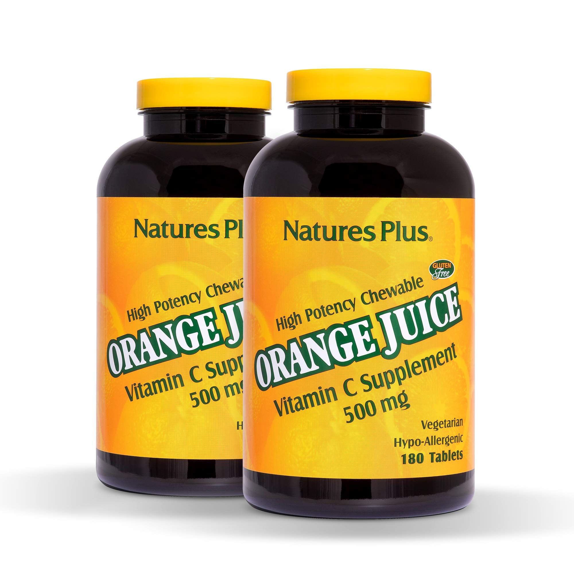 NaturesPlus Orange Juice Chewable Vitamin C (2 Pack)- 500 mg, 180 Tablets - High Potency Immune Support Supplement, Antioxidant - Gentle On Stomach - Vegetarian, Gluten-Free - 360 Total Servings