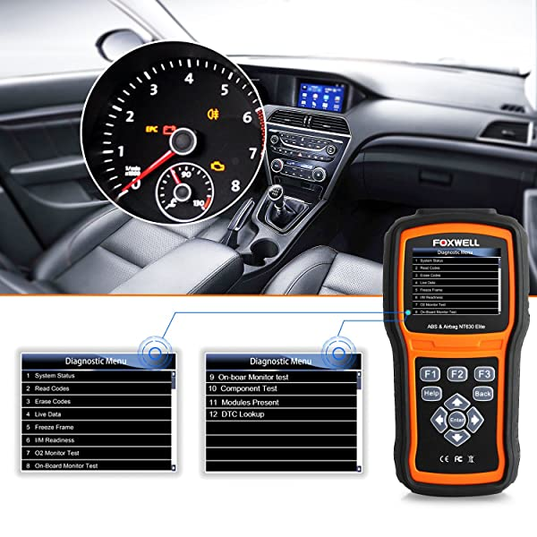 FOXWELL NT630 Elite is a OBD2 Scan Tool that reads and clear codes and turns off ABS Airbag warning indicator