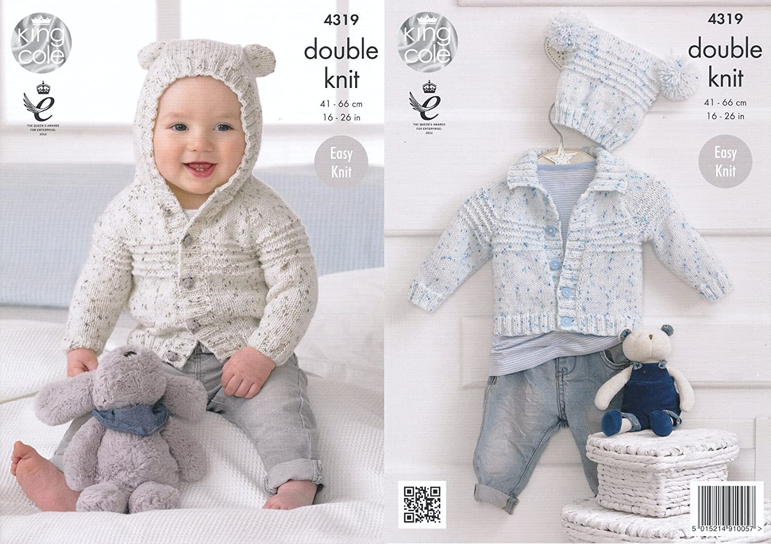 King Cole Double Knitting Pattern Baby Hooded or Collared Cardigan ...