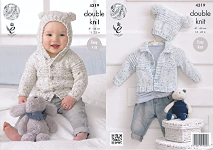 53d1fb475d3d00 King Cole Double Knitting Pattern Baby Hooded or Collared Cardigan   Hat  Easy Knit Smarty DK (4319)  Amazon.co.uk  Kitchen   Home