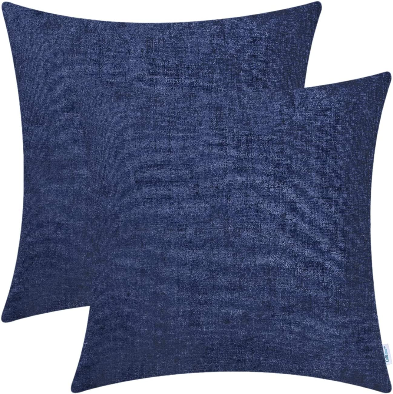 CaliTime Pack of 2 Cozy Throw Pillow Covers Cases for Couch Sofa Home Decoration Solid Dyed Soft Chenille 20 X 20 Inches Navy Blue
