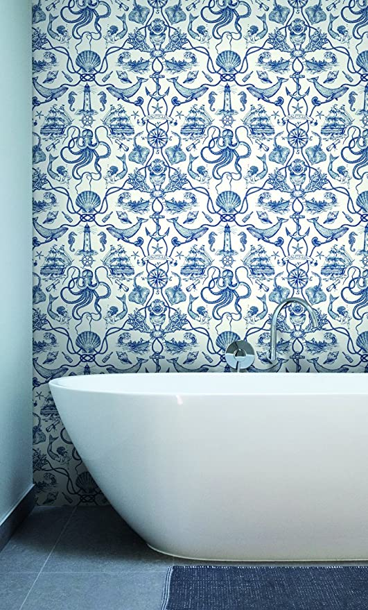 York Wallcoverings Ho3361 Deep Sea Toile Wallpaper Tailored Collection Blue Amazon Com
