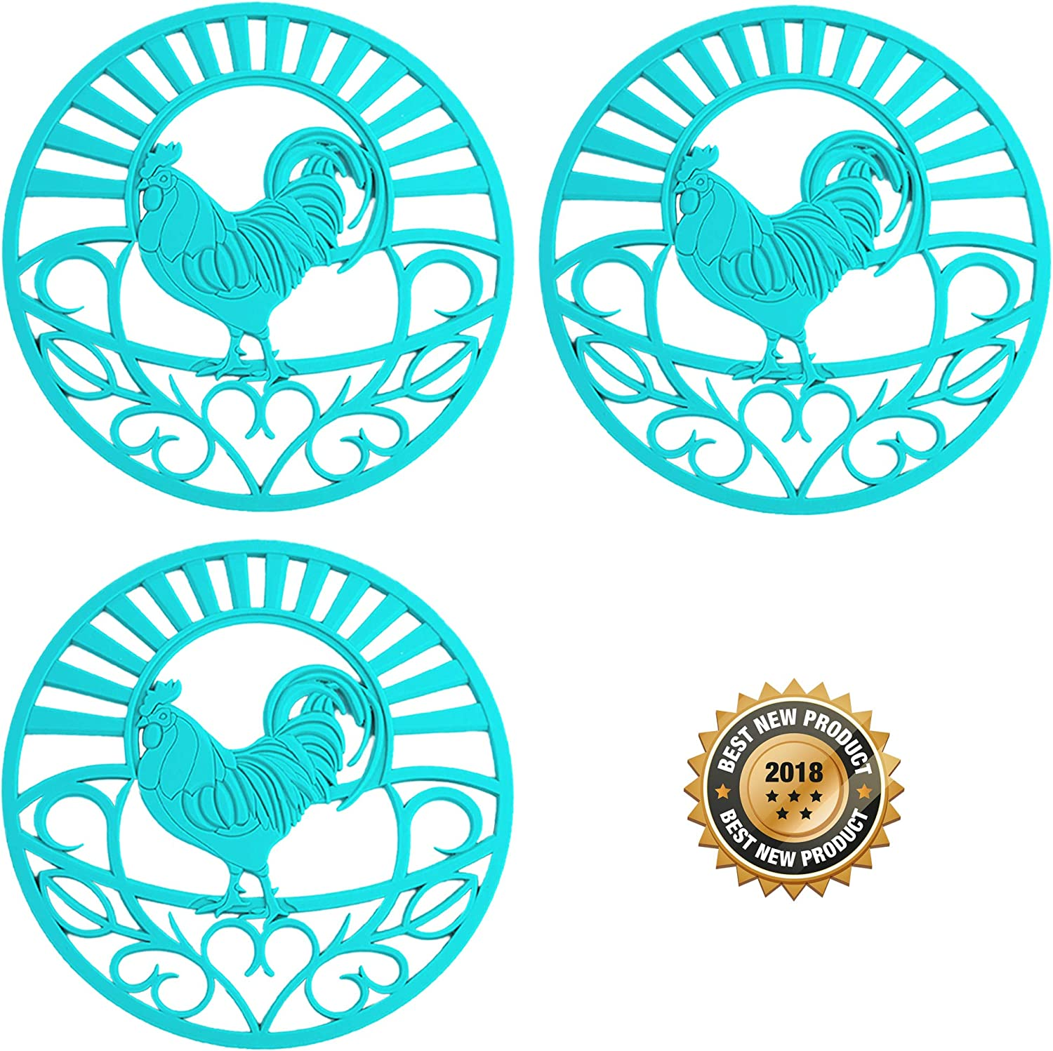 """Silicone Trivet Set For Hot Dishes, Pots & Pans. These Kitchen Hot Pads""""Country Rooster"""" Design (Symbol of Prosperity & Good Luck) Mimics Cast Iron Trivets (7.5 inch Round, Set of 3, Teal)"""