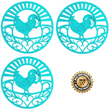 Silicone Trivet Set For Hot Dishes, Pots & Pans. These Kitchen Hot Pads Country Rooster  Design (Symbol of Prosperity & Good Luck) Mimics Cast Iron Trivets (7.5 inch Round, Set of 3, Teal)