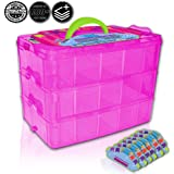 Holds 600 - Tiny Toy Box Shopkins Storage Case Organizer Container - Stackable Collectors Carrying Tote Compatible With Mini Toys Colleggbles Lol Fash'ems Tsum Tsum Hot Wheels