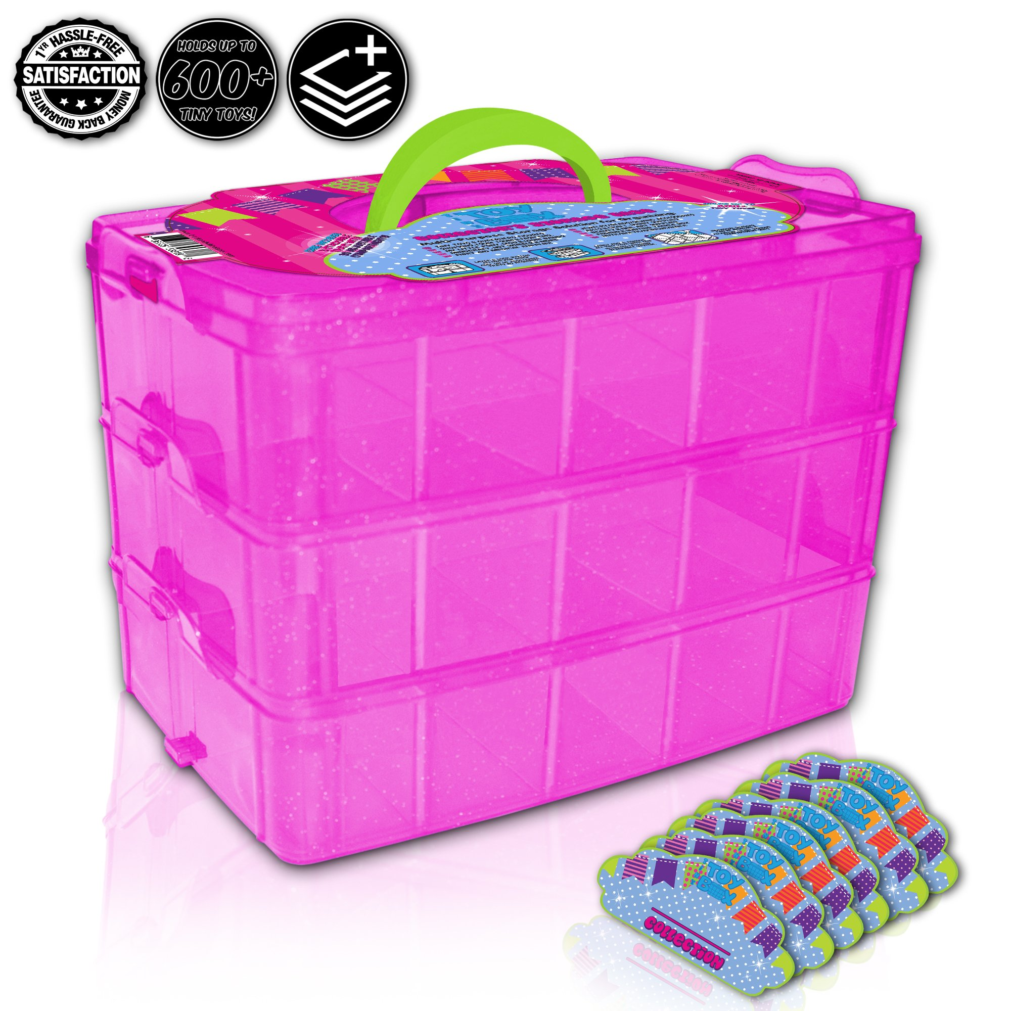 Holds 600 - Tiny Toy Box Shopkins Storage Case Organizer Container - Stackable Collectors Carrying Tote Compatible With Mini Toys Colleggbles LoL Fash'ems Tsum Tsum Hot (Pink Sparkle/Green)
