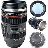 Camera Lens Coffee Mug with Lid, Photo Coffee Cup Stainless Steel Photographer Lens Mug Thermos TMANGO