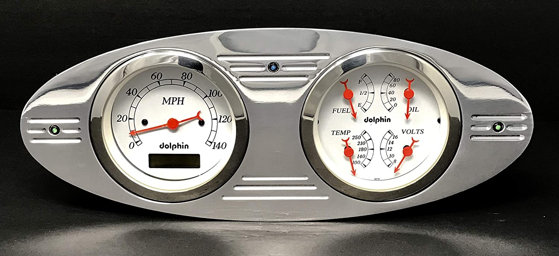 Dolphin Gauges 1932 Chevy Car 5 GPS Gauge Dash Cluster Panel Set White