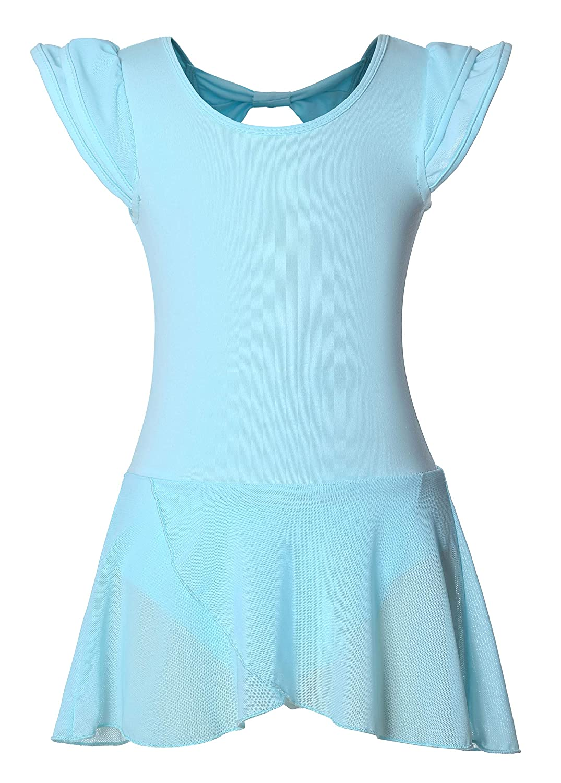 DANSHOW Girls' Ballet Dance Leotards with Flutter Sleeve Petal Skirt and Bowknot Back