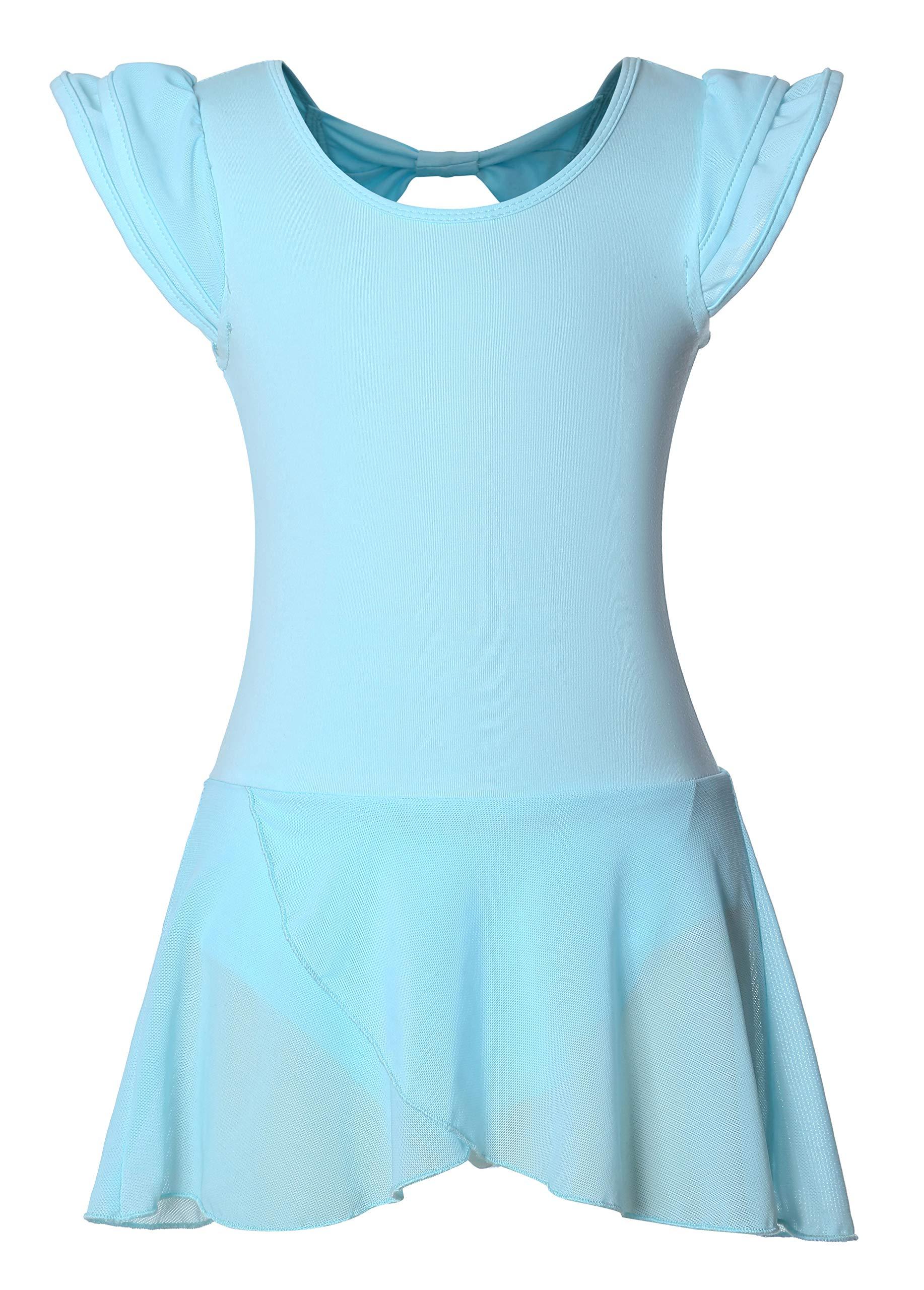 DANSHOW Girls' Ballet Dance Leotards with Flutter Sleeve Petal Skirt and Bowknot Back(6-8years,Light Blue) by DANSHOW