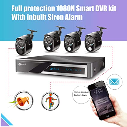 Anni 1080N HD Home Security Camera System CCTV Wired Surveillance DVR Kit, 8-Channel 1080N Digital Video Recorder, 4 x 1080p Cameras: 3 x PIR Sensor ...