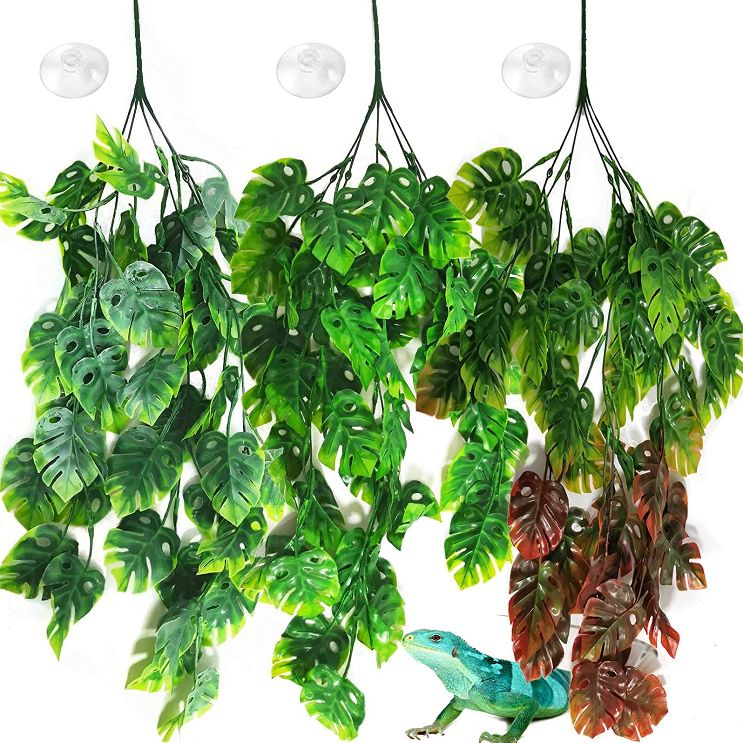 PINVNBY Reptile Plants Hanging Terrarium Plastic Fake Vines Lizards Climbing Decor Tank Habitat Decorations with Suction Cup for Bearded Dragons Geckos Snake Hermit Crab 3PCS