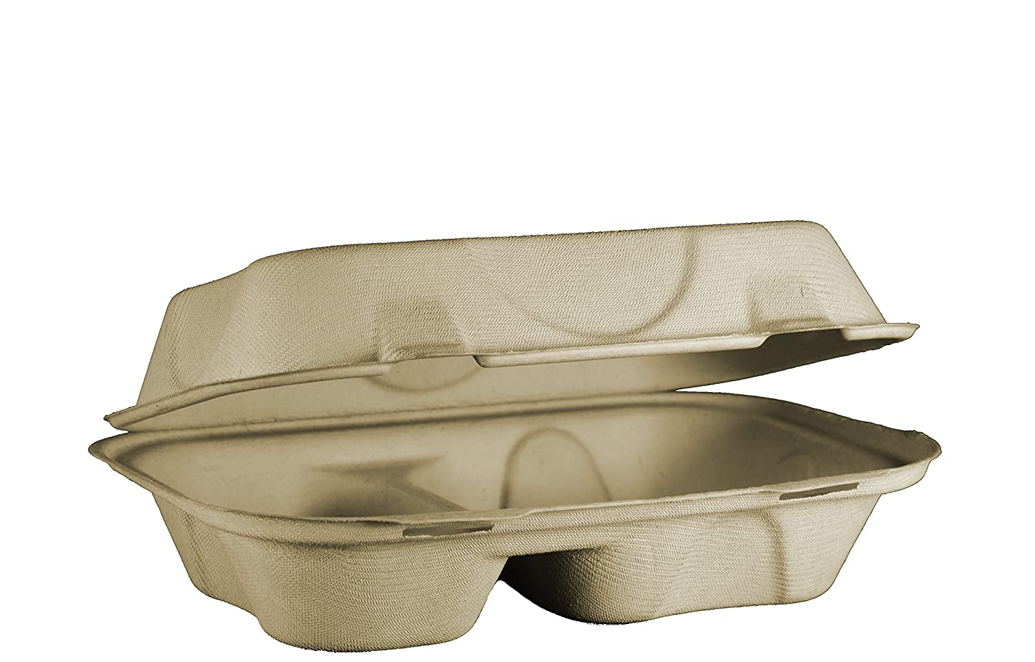 World Centric TO-SC-U34D 100% Compostable Unbleached Plant Fiber Hoagie Box 2 Compartment Take Out Containers, 9