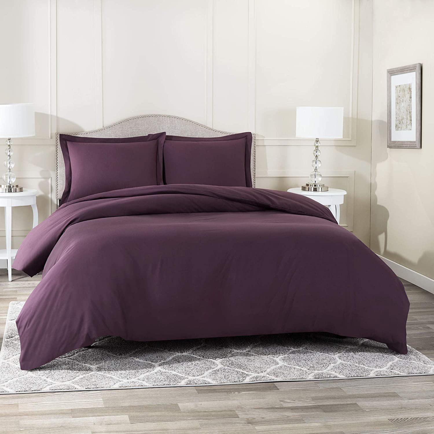 "Nestl Bedding Duvet Cover 3 Piece Set – Ultra Soft Double Brushed Microfiber Hotel Collection – Comforter Cover with Button Closure and 2 Pillow Shams, Eggplant - King 90""x104"""