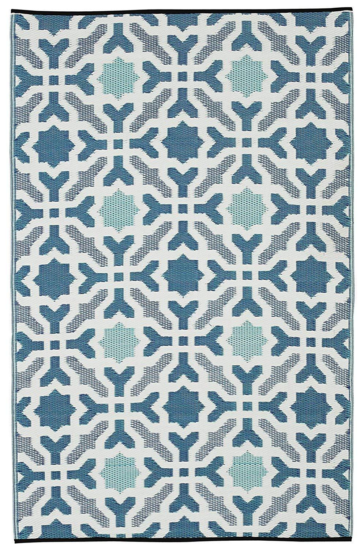 Fab Hab - Seville - Multifarben - Blau - Teppich  Matte für den Innen- und Außenbereich (90 cm x 150 cm)