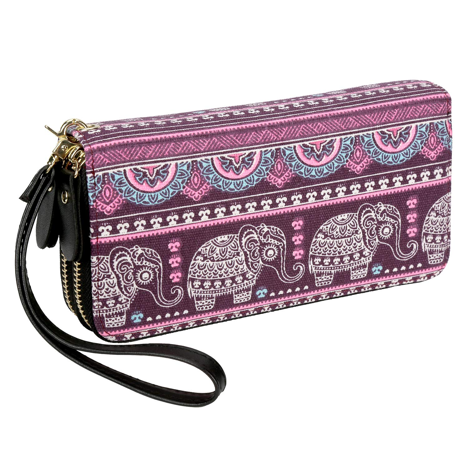 Bohemian Purse Wallet Canvas Elephant Pattern Handbag with Coin Pocket and Strap by LATH.PIN