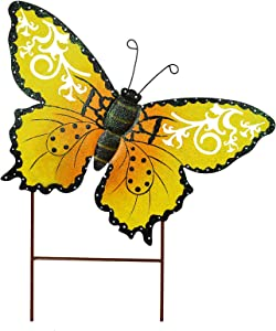 E-view Metal Butterfly Garden Stakes - Spring Decorative Yard Signs - Indoor Outdoor Plant Flower Stake Lawn Ornaments Butterfly Decoration (Yellow)