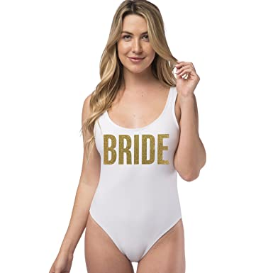 dbcaa785610dd BRIDE Bachelorette Party Glitter One Piece Swimsuit at Amazon ...