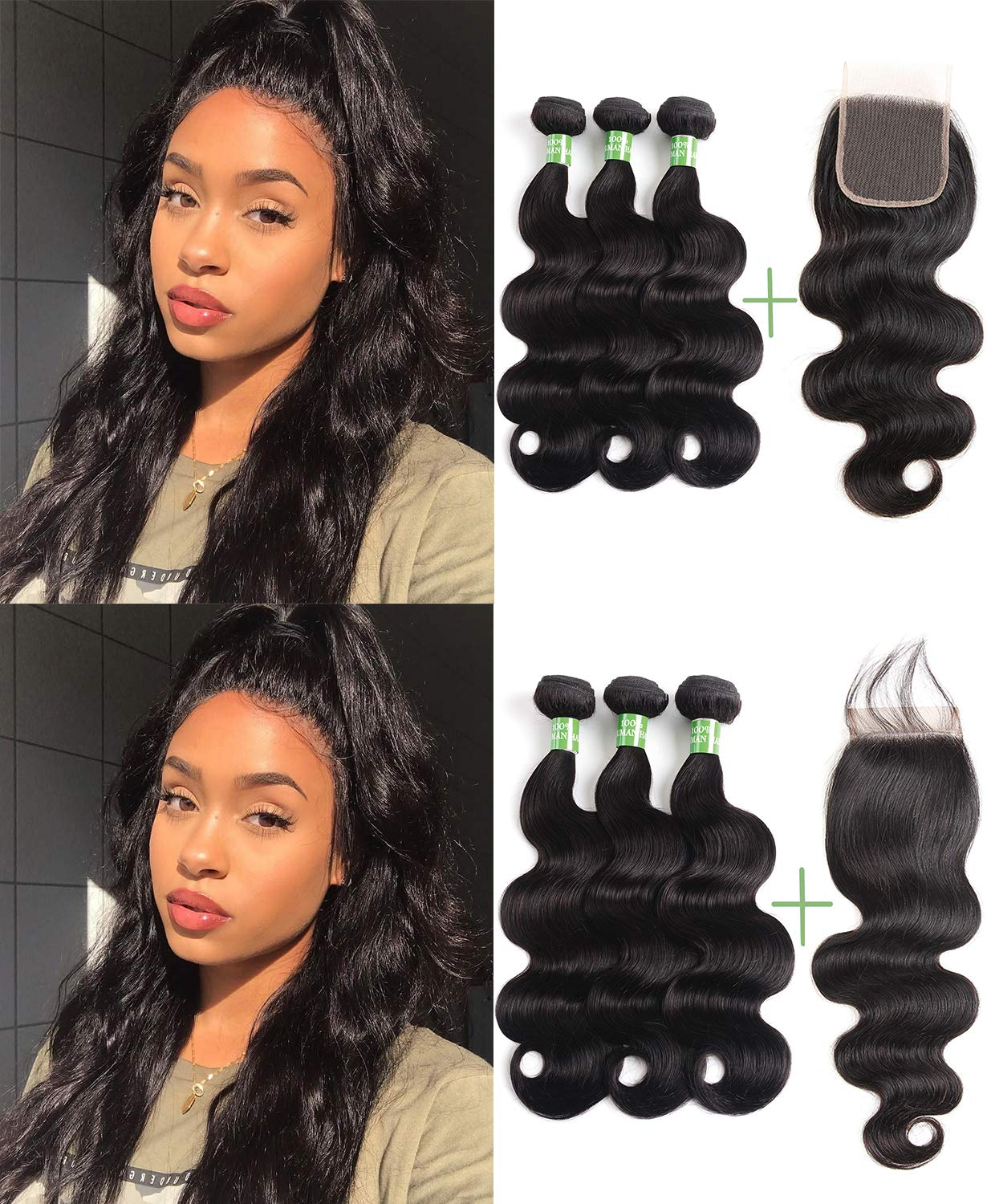 Beauty Youth Human Hair Bundles Body Wave With Closure 10 12 14 10 100 Unprocessed Virgin Brazilian Human Hair Bundles With Free Part Lace Closure Body Wave 3 Bundles Hair Weave Natural Color Beauty Amazon Com