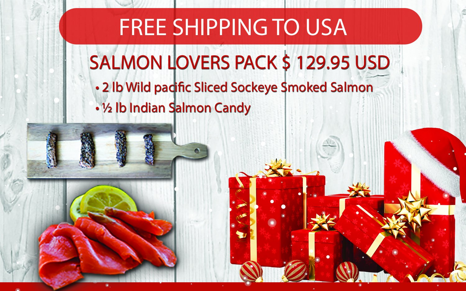 Salmon Lovers Gift Pack Basket Featuring Wild Pacific Canadian Smoked Salmon and Indian Salmon Candy Cured with Grade A Maple Syrup Gourmet With Greeting Card Xmas Gift From Jet Set Sam by Jet Set Sam