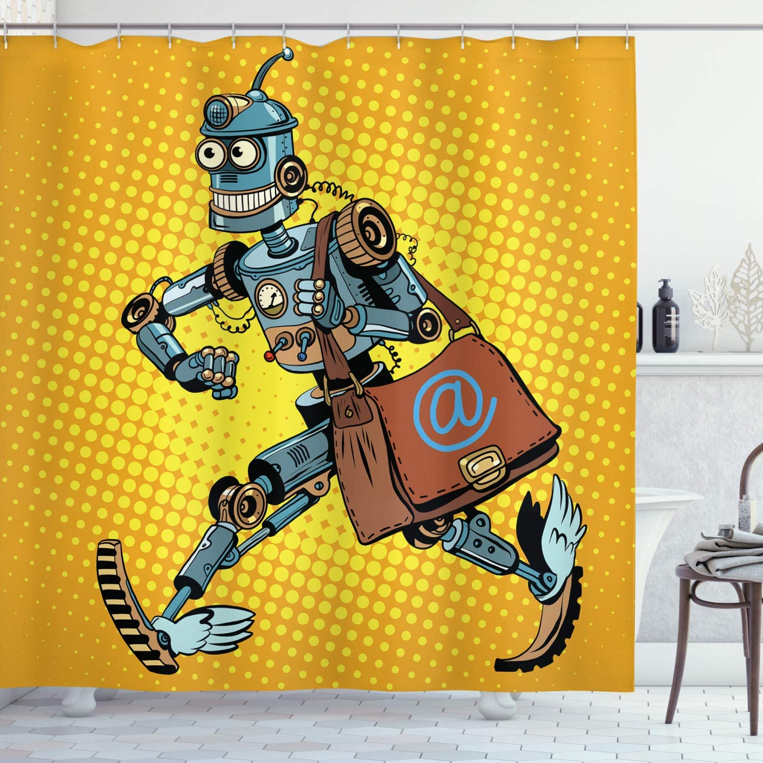 "Ambesonne Retro Shower Curtain, Pop Art Comic Book Style Robot Mailman Vintage Science Fiction Design, Cloth Fabric Bathroom Decor Set with Hooks, 70"" Long, Yellow and Pale Blue"