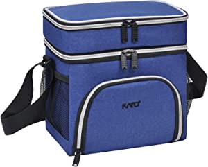 Kato Insulated Lunch Bag, Leakproof Bento Cooler Lunch Box Tote, Dual Compartment Thermal Lunch Bag with Shoulder Strap for Men & Women, Oxford Cloth, Blue