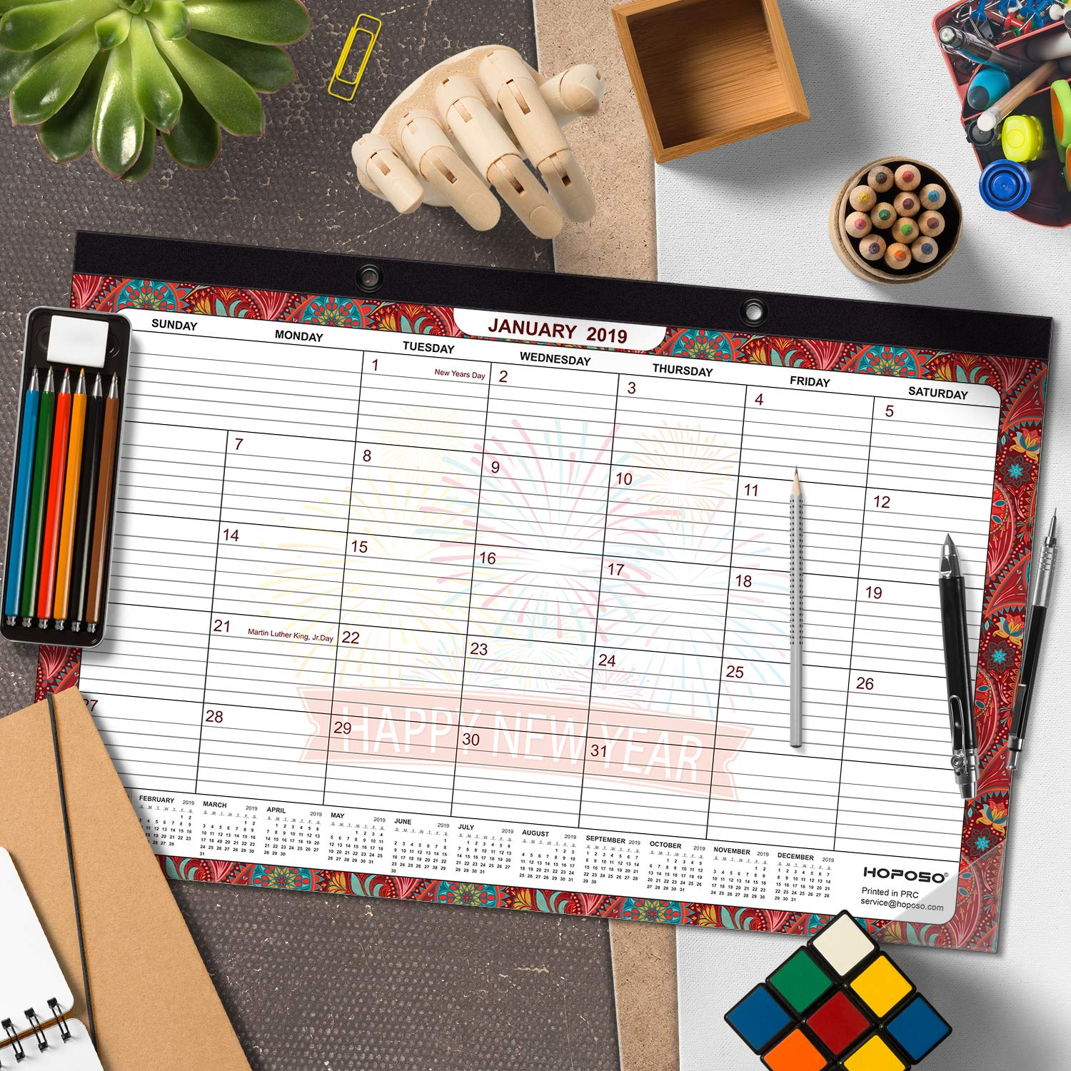 February 2020 Desktop Calendar Smashing Amazon.: Desk Calendar 2019, Wall Calendar Large Desktop
