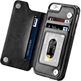 iPhone 6s Case, iPhone 6 Case, Hoofur Slim Fit Premium Leather iPhone 6 Wallet Casae Card Slots Shockproof Folio Flip Protective Defender Shell for Apple iPhone 6/6s (4.7 Inch) - Black