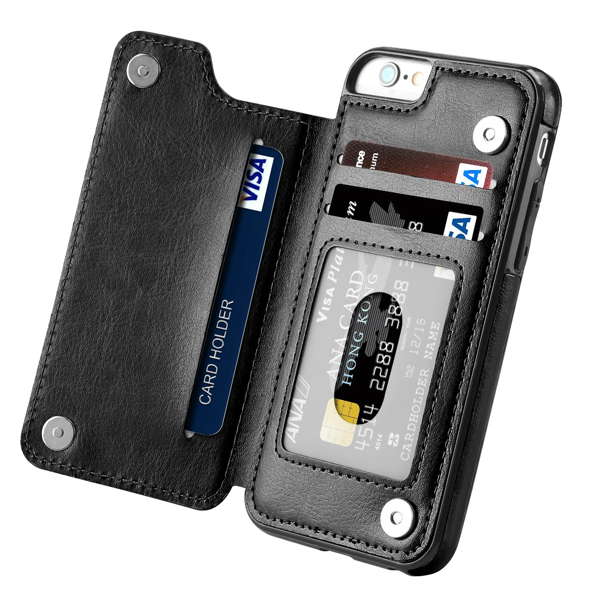 iPhone 6s Case, iPhone 6 Case, Hoofur Slim Fit Premium Leather iPhone 6 Wallet Casae Card Slots Shockproof Folio Flip Protective Shell for Apple iPhone 6/6s (4.7 Inch) (Black) by Hoofur