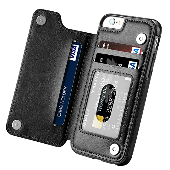innovative design 35851 65f18 iPhone 6s Case, iPhone 6 Case, Hoofur Slim Fit Premium Leather iPhone 6  Wallet Casae Card Slots Shockproof Folio Flip Protective Shell for Apple ...