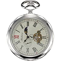 TREEWETO Mechanical Pocket Watches Silver Roman Numerals Open Face With Chain Men 24-Hour Moon Sun + Gift Box
