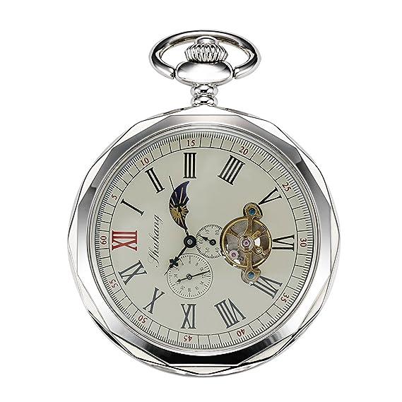 Treeweto - reloj de bolsillo para hombre, color plata con números romanos y cadena,