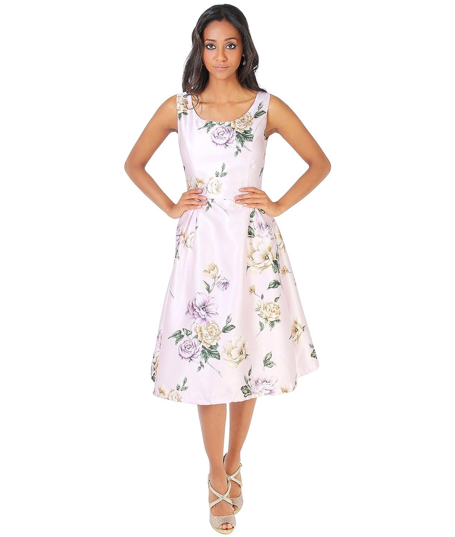 KRISP Vestido Midi Floral Falda Plisada[Rosa Claro, Small (36-38 ...