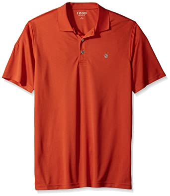 cdac82859 IZOD Men's Big and Tall Golf Champion Grid Short Sleeve Solid Polo, Aurora  red,