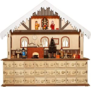 One Hundred 80 Degrees Bavarian Style Wooden Christmas Advent Calendar w/Drawers (Alpine Home Scene)