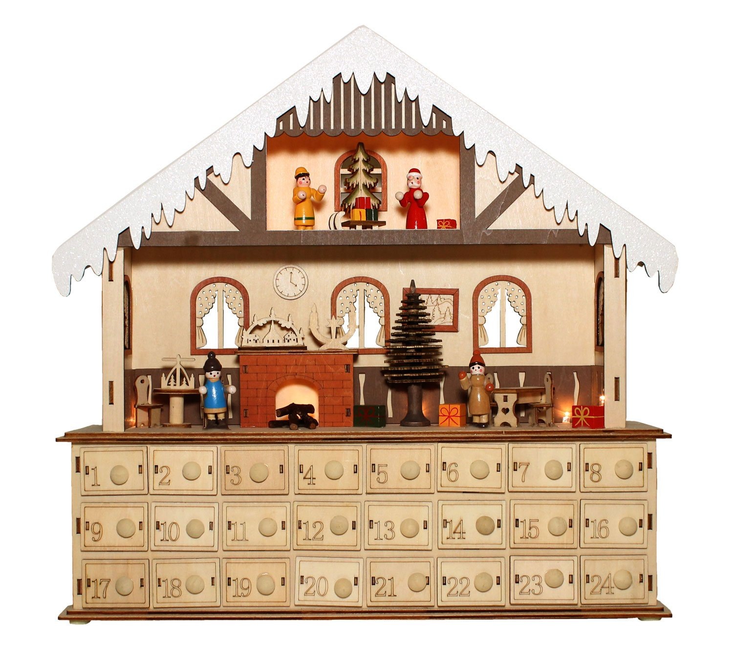 Bavarian Style Wooden Christmas Advent Calendar w/ Drawers (Alpine Home Scene) by One Hundred 80 Degrees