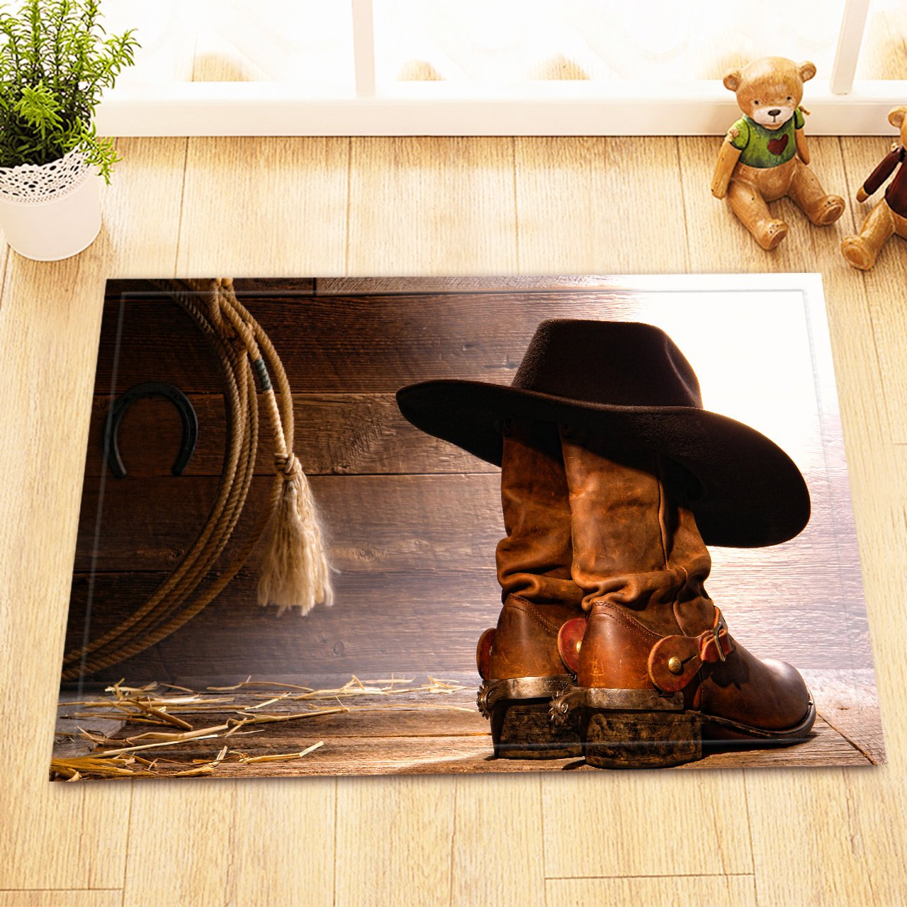 LB Western Cowboy Boot Hat Rustic Barn Wood Small Shower Carpet, Slip Proof Rubber Backing Microfiber Surface, Texas Country Theme Bathroom Rug 15 x 23 Inches