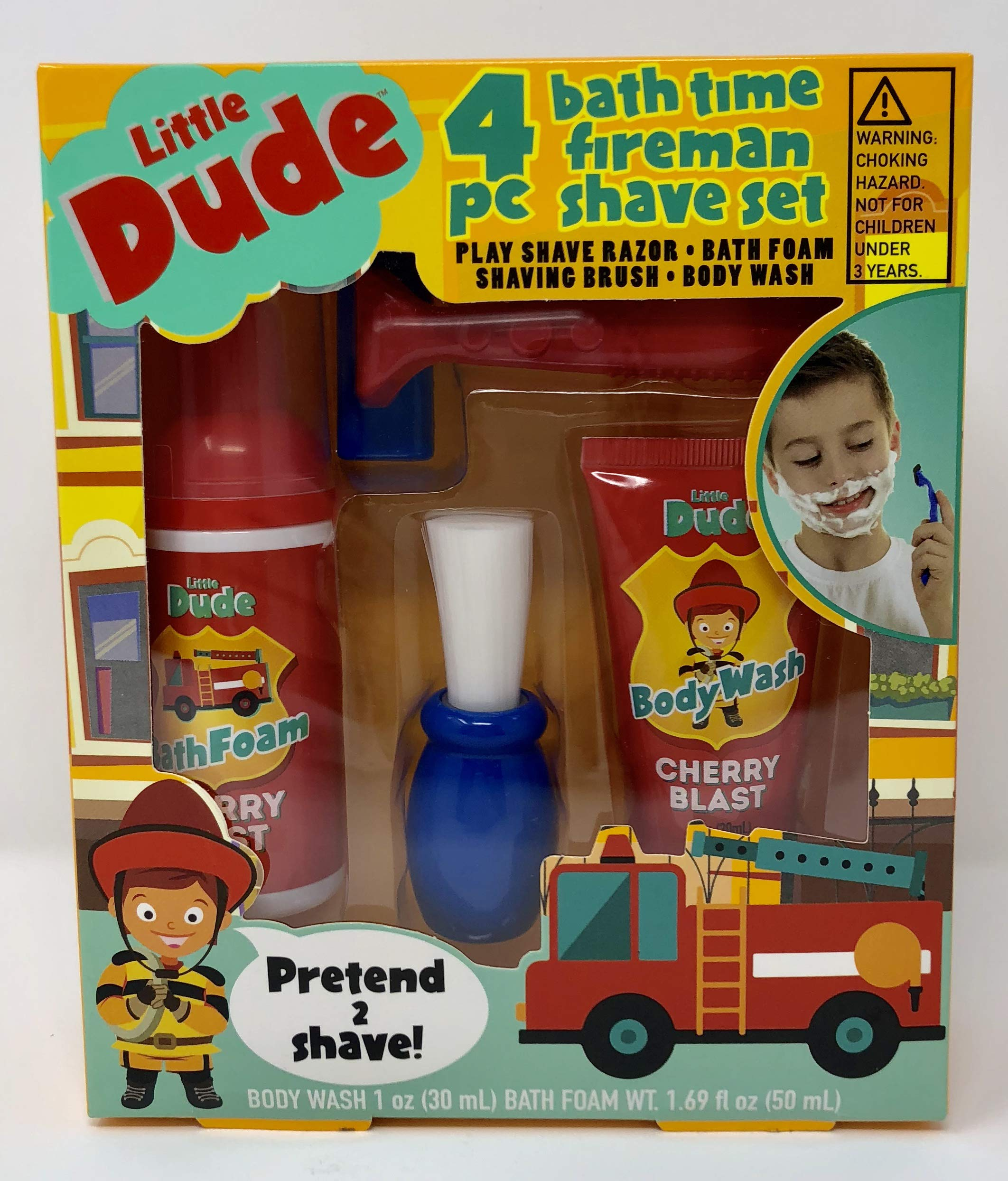 BCL  Kids Pretend Shave kit for Bath time Fun. Fireman Theme, Complete with Pretend Razor, Bath Foam, Shaving Brush, and Body wash.