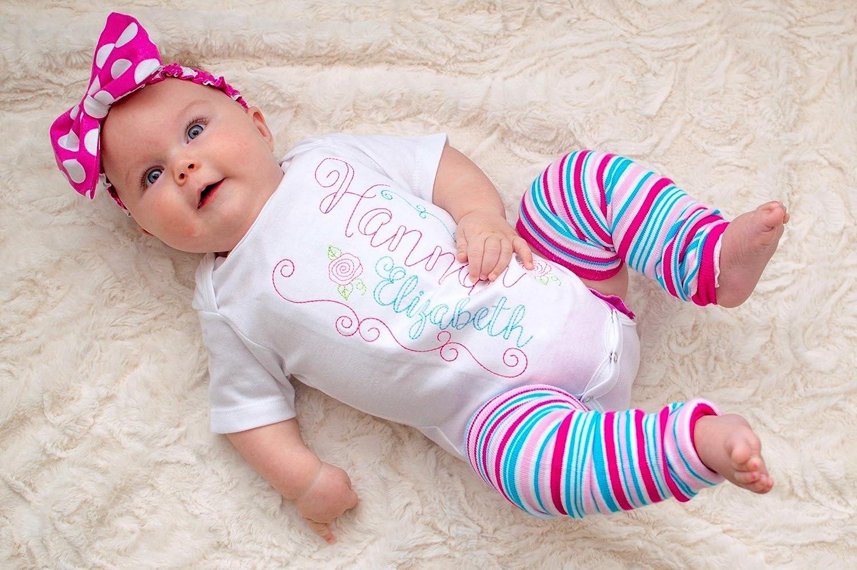 Baby Girl's Antique Rose Custom Name Infant Bodysuit Baby Shower Gift