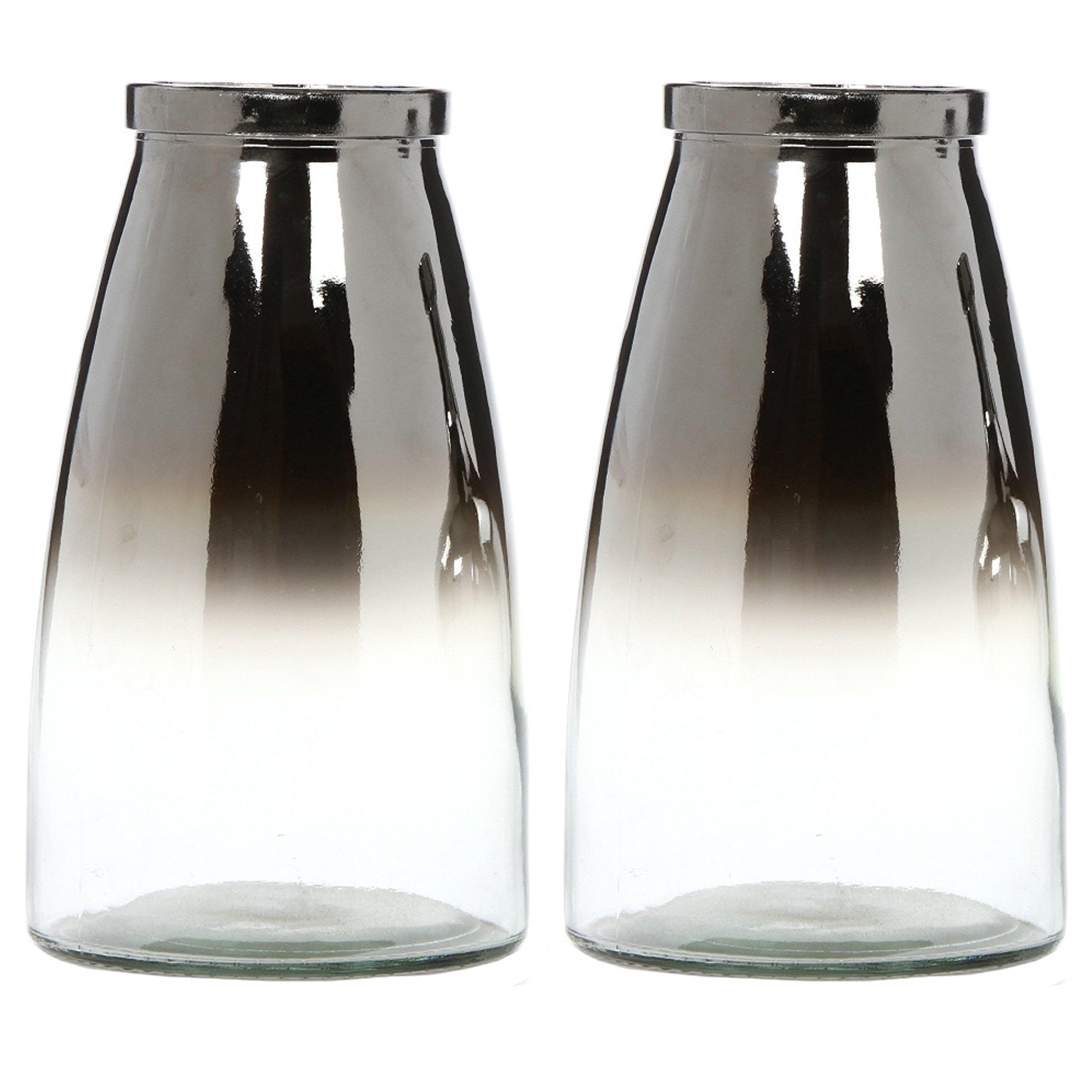 Hosley's Set of 2, Silver Glass Flower Vase - 10.25'' High. Ideal Gift for Weddings, Bridal, Spa, Meditation, Reiki, Rose Vase, Nautical Settings, Storage P1