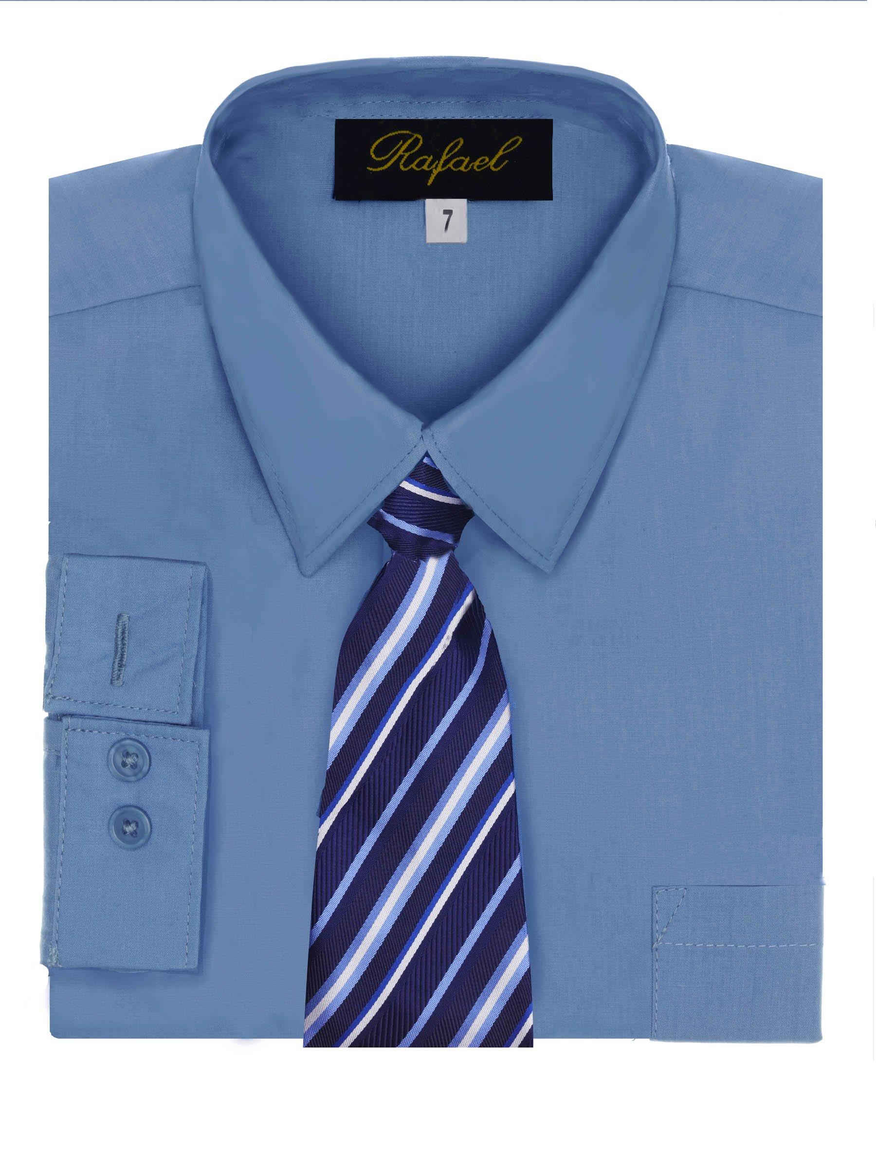 Boy's Dress Shirt & Tie - Crystal Blue, 14