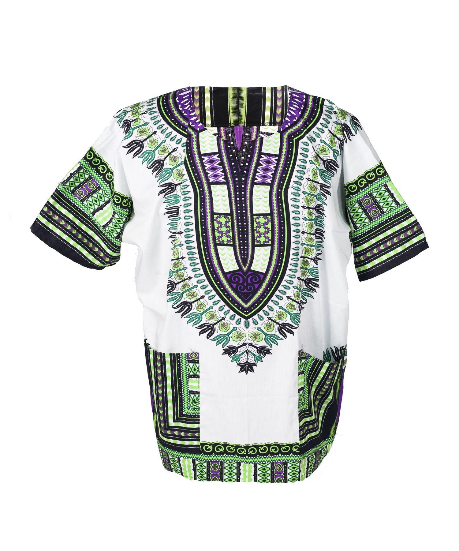 Lofbaz Traditional African Print Unisex Dashiki Size XXXL White and Green