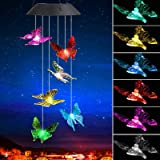 SUNJOYCO Butterfly Solar Wind Chimes, Color-Changing Outdoor Decoration Waterproof LED Memorial Wind Chime Solar Powered Colo