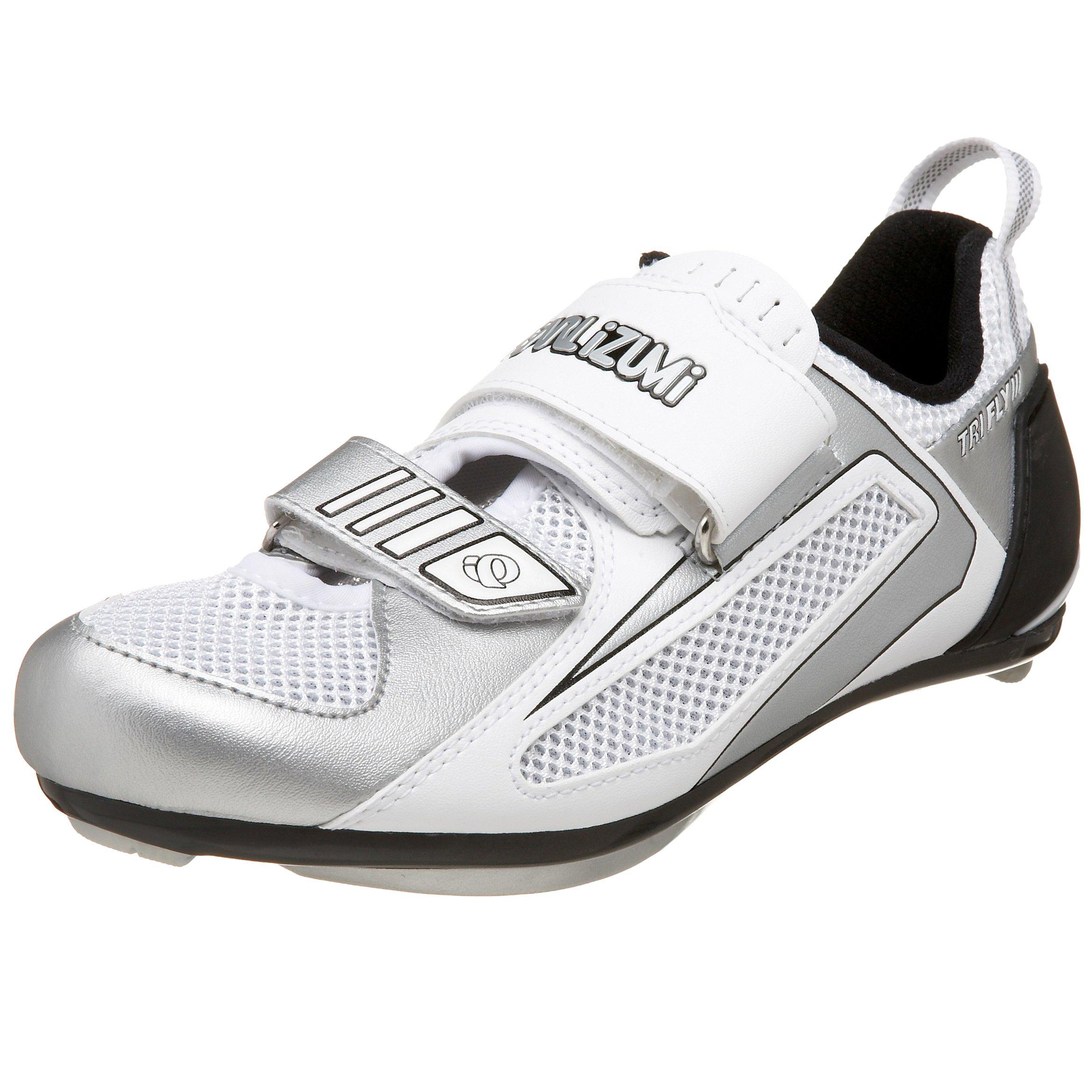 Pearl iZUMi Women's Tri Fly III Triathlon Shoe,White/Silver,37 M EU/US Women's 5.5 M