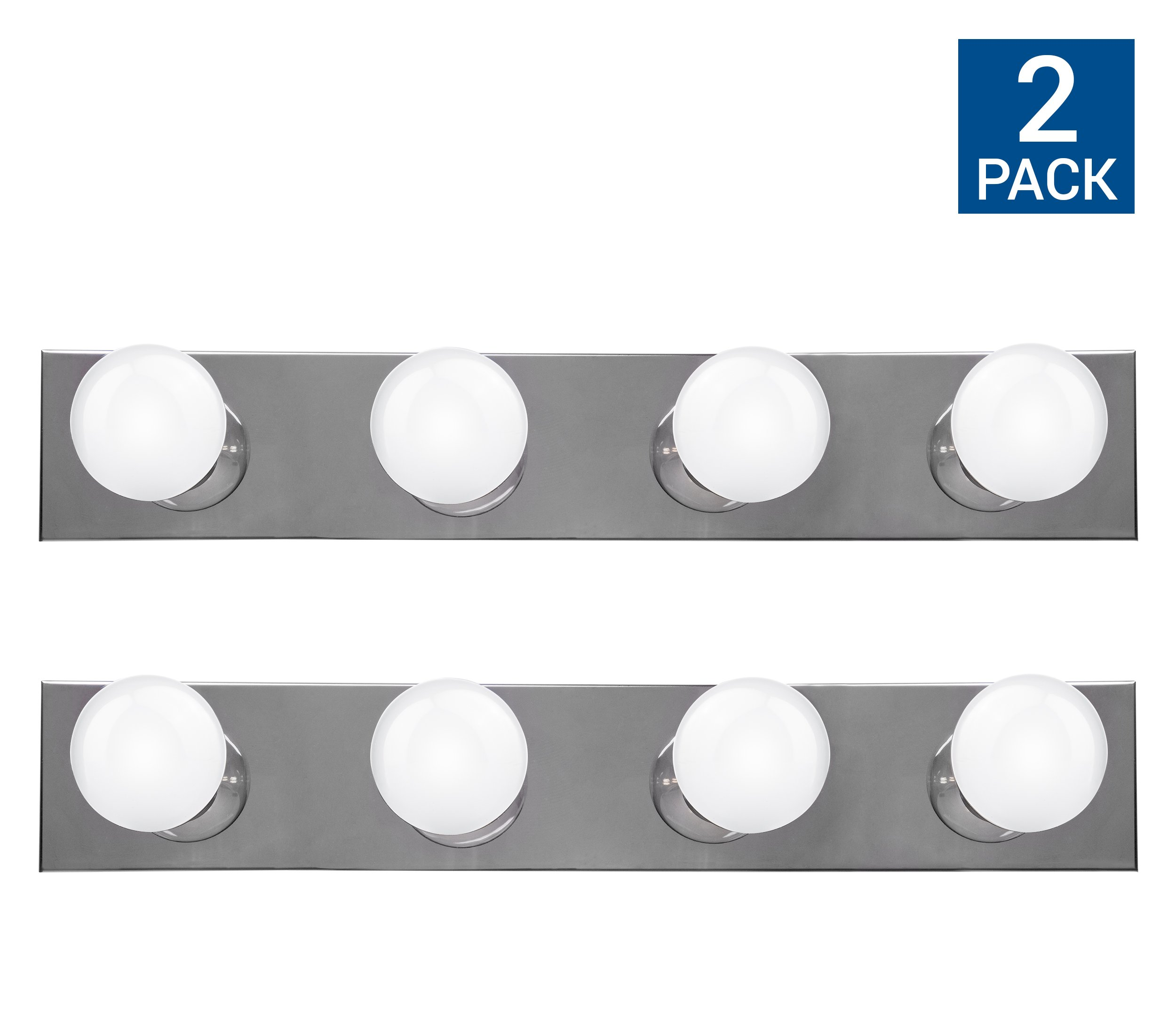Hyperikon Vanity Lights, 4 Light Vanity Bar Strip Fixture, 24 Inch with 4 Sockets (E26 Medium Base), Polished Chrome Finish, Plug and Switch Rotary Cord - Bulbs Not Included (2 Pack)