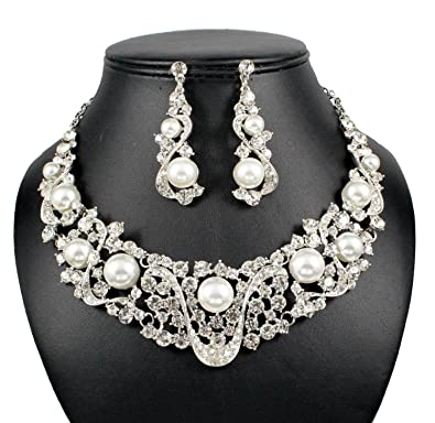 Fashion Jewelry Gold Clear Diamante Rhinestone Crystal Jewellery Necklace Earrings Set New Gift Jewelry & Watches